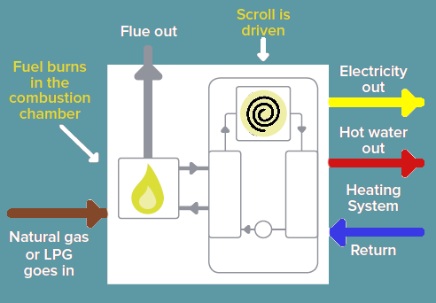 The Flow microCHP boiler how it works diagram