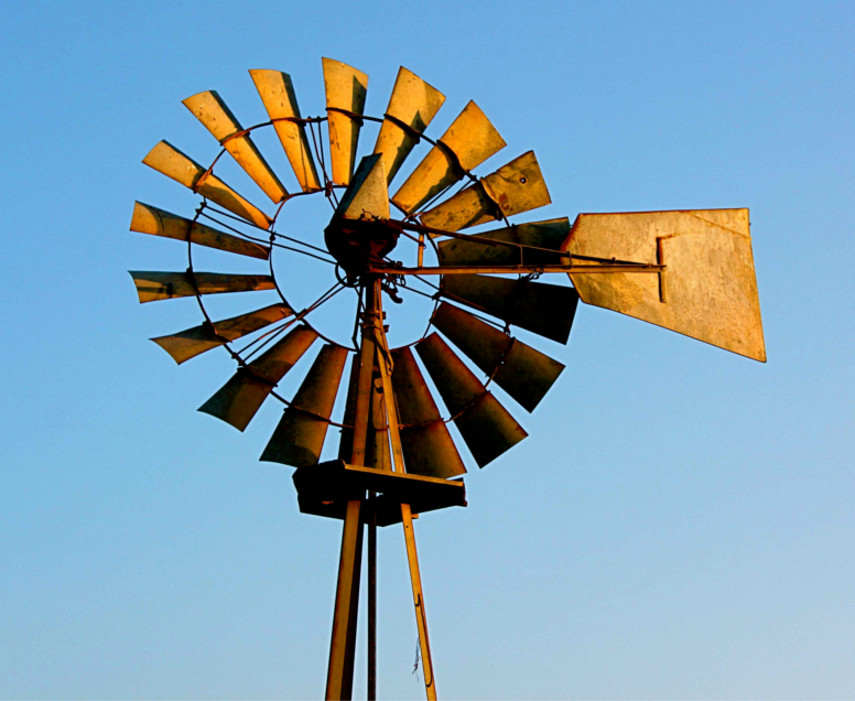 Old Windmill, Old Wind Turbine
